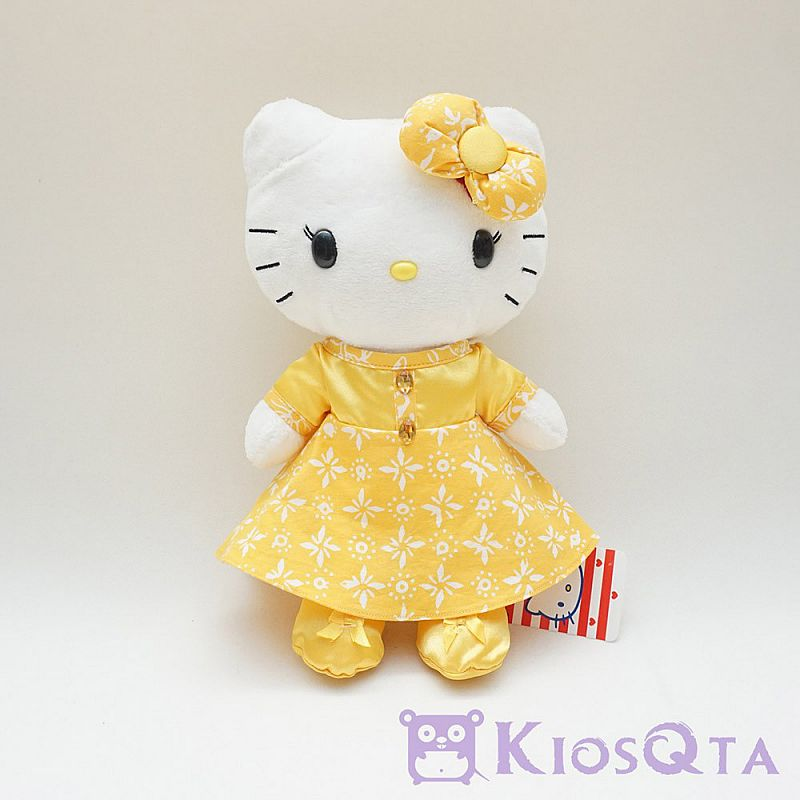 Boneka hello kitty gaun batik kuning original sanrio MAR A