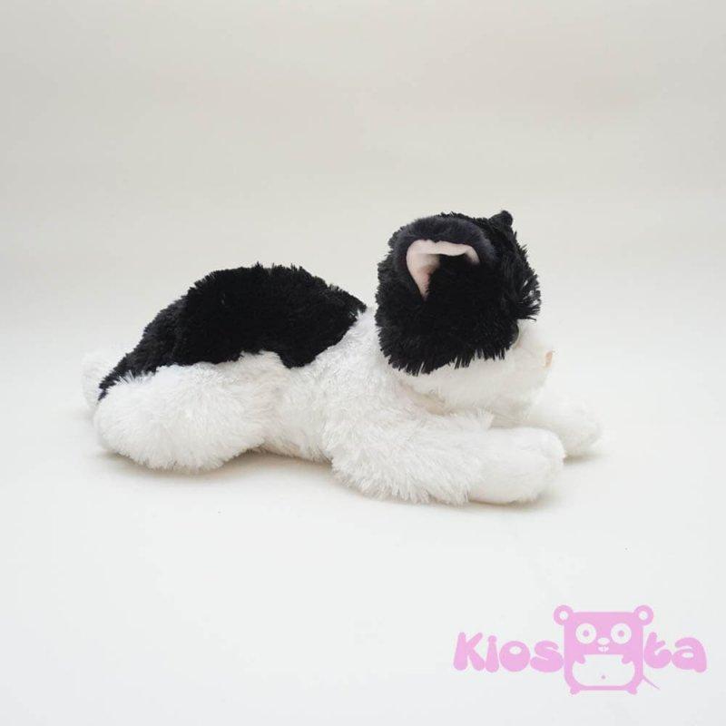 boneka kucing lying cat hitam putih - 5